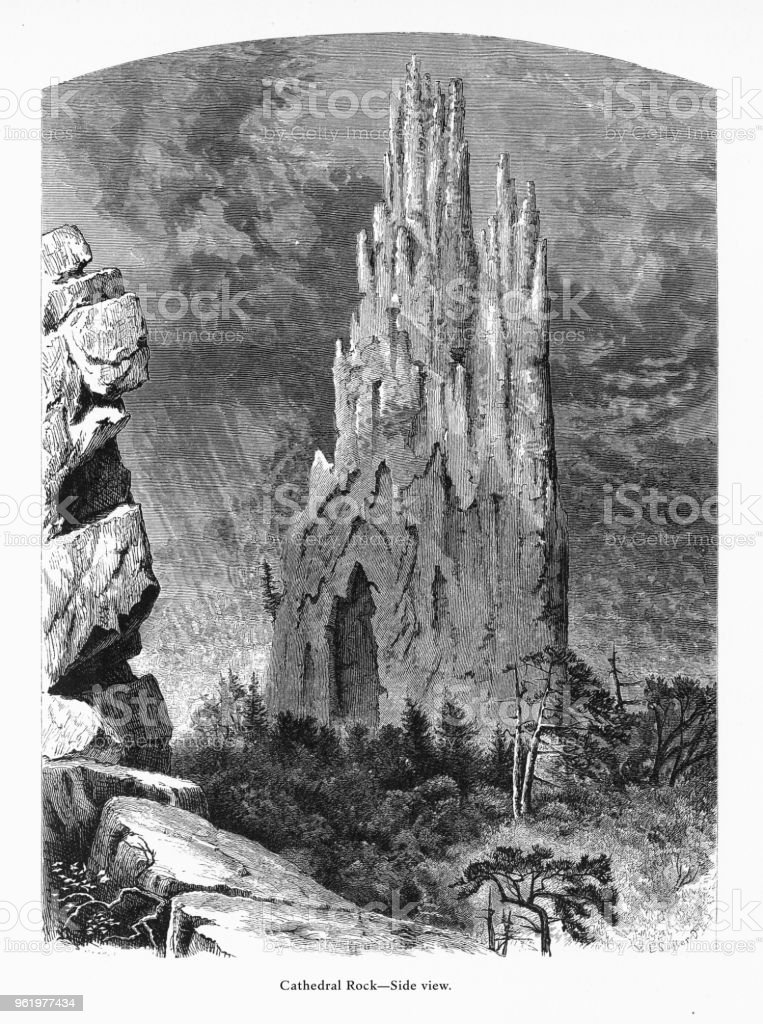 Cathedral Rock—Side View, Petersburg, West Virginia, United States, American Victorian Engraving, 1872 vector art illustration