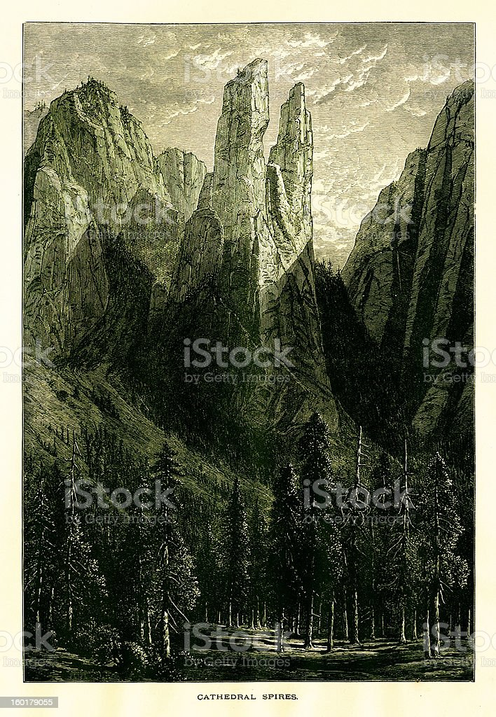 Cathedral Spires, Yosemite Valley, California royalty-free stock vector art