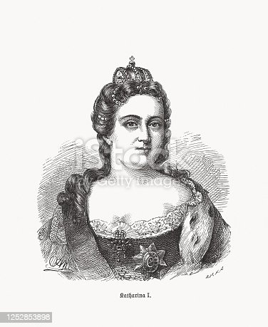 Catherine I (1684 - 1727) - second wife of Peter the Great and Empress of Russia from 1725 until her death. Wood engraving, published in 1893.