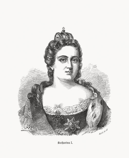 catherine i (1684-1727), russian empress, wood engraving, published in 1893 - kate middleton stock illustrations