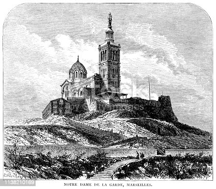 """The 19th century Catholic Basilica of Notre-Dame de la Garde in Marseille, Provence, France. From """"French Pictures: Drawn With Pen and Pencil"""" by the Rev. Samuel G. Green, D.D. Published by The Religious Tract Society, London, 1878."""