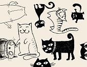 Vector cats doodles