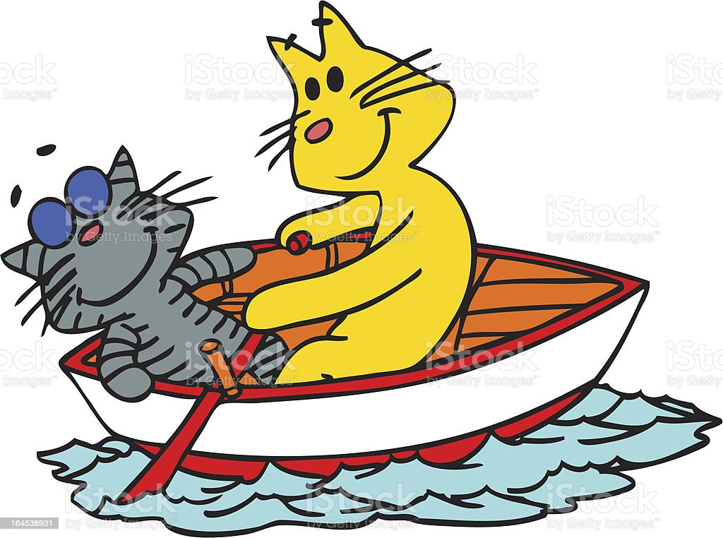 Cats on a boat royalty-free stock vector art