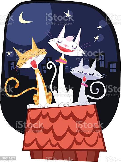 Cats Singing On The Roof At Moon Night-vektorgrafik och fler bilder på Blandraskatt