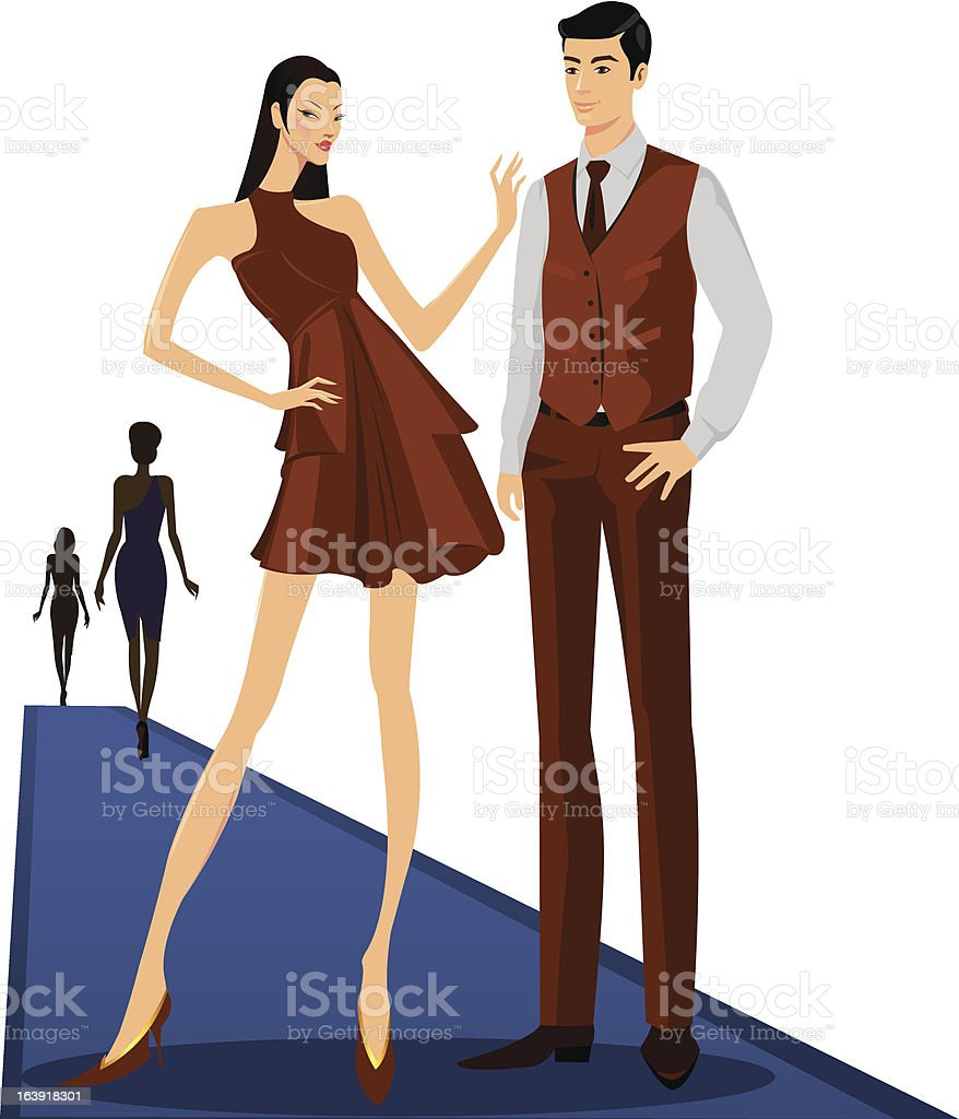 catwalk fashion show vector art illustration