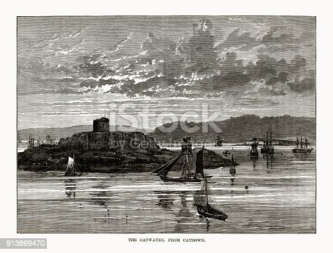 istock Catwater From Catdown Rivers Victorian Engraving 913869470