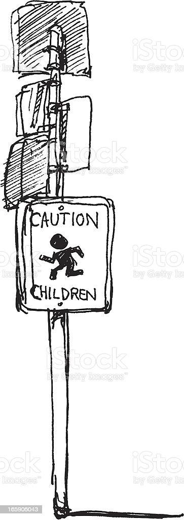 Caution Children Sign Sketch vector art illustration