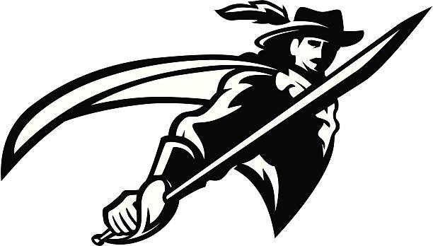 cavalier-maskottchen b & w - reiter stock-grafiken, -clipart, -cartoons und -symbole