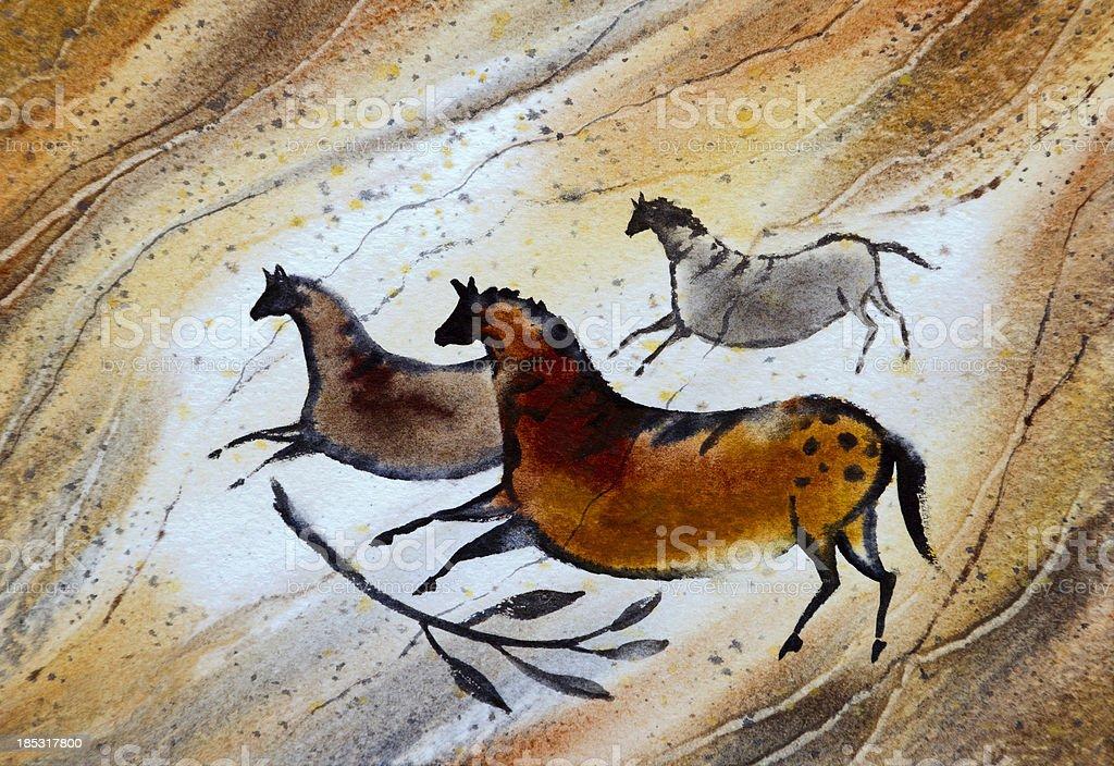 Cave Art Ponies vector art illustration