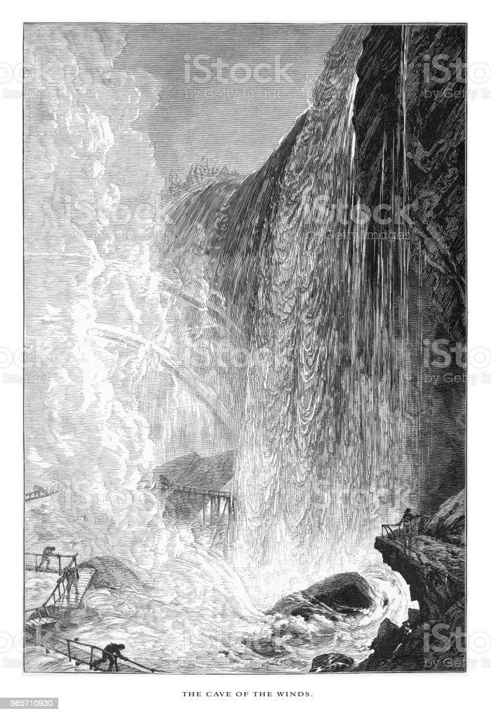 Cave of the Winds, Niagara Falls, New York, Niagara Falls, Ontario, American Victorian Engraving, 1872 - Royalty-free 1870 stock illustration