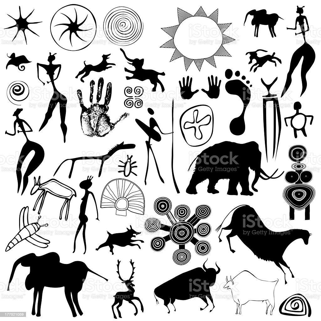 cave painting - primitive art vector art illustration