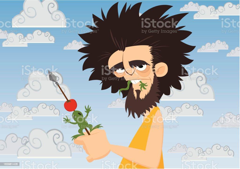 Caveman Eating royalty-free stock vector art