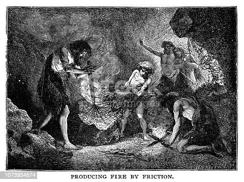 Caveman producing fire by friction - Scanned 1890 Engraving