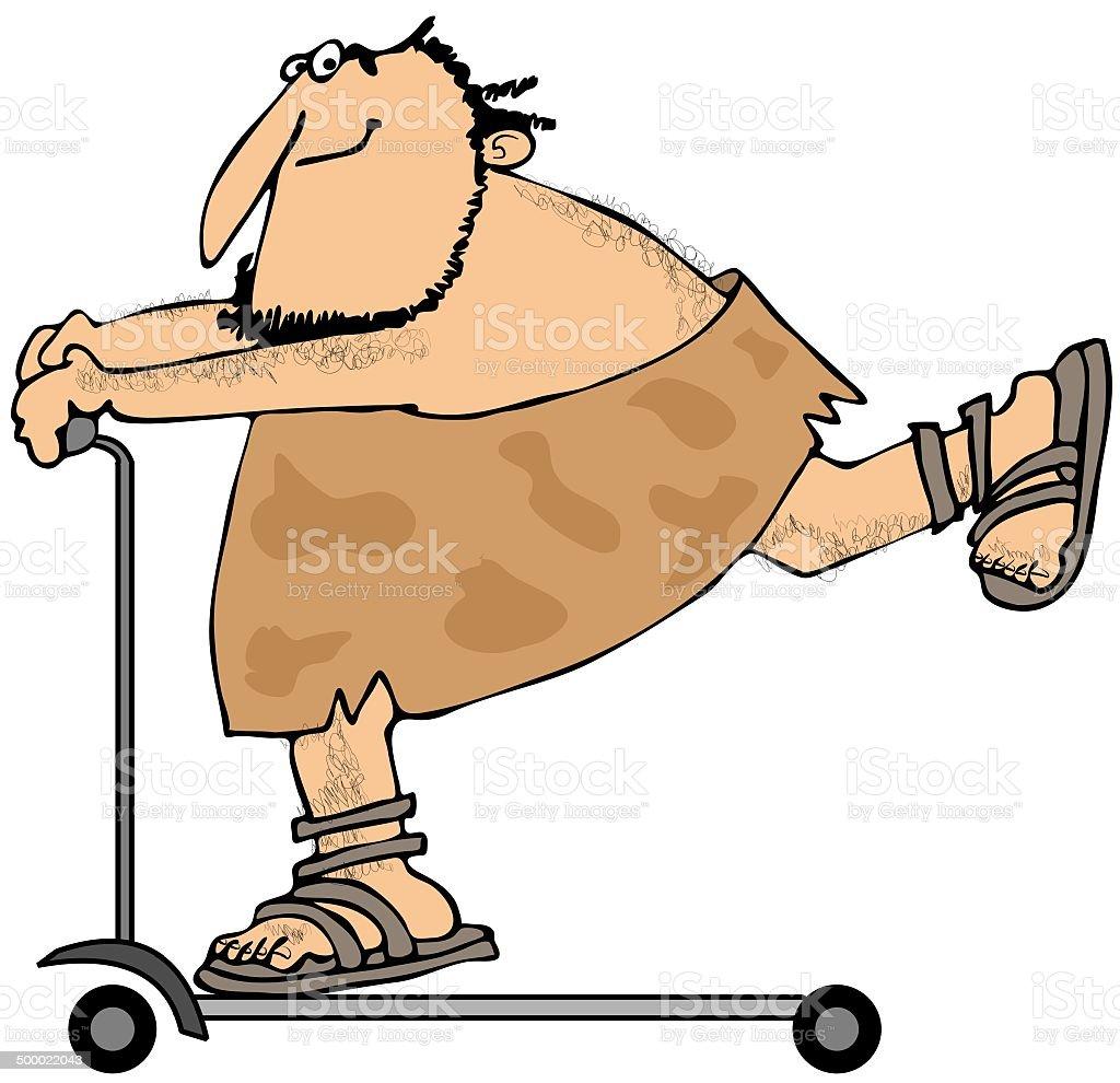 Caveman riding a scooter royalty-free stock vector art