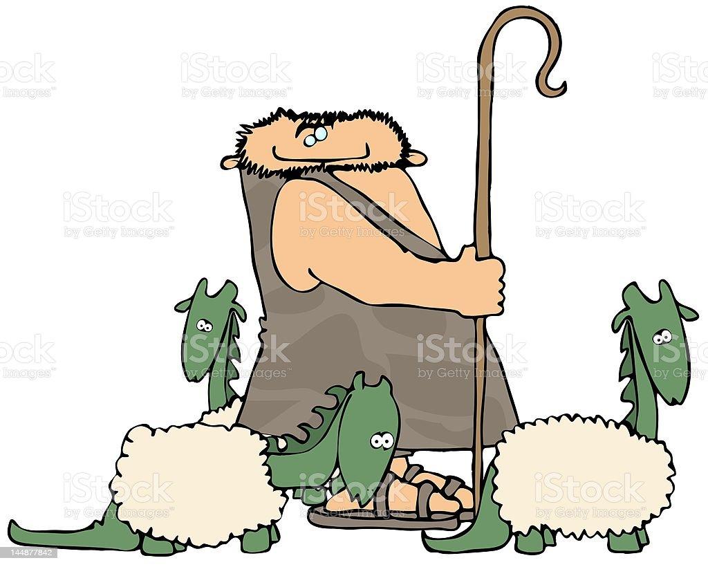 Caveman Shepherd vector art illustration