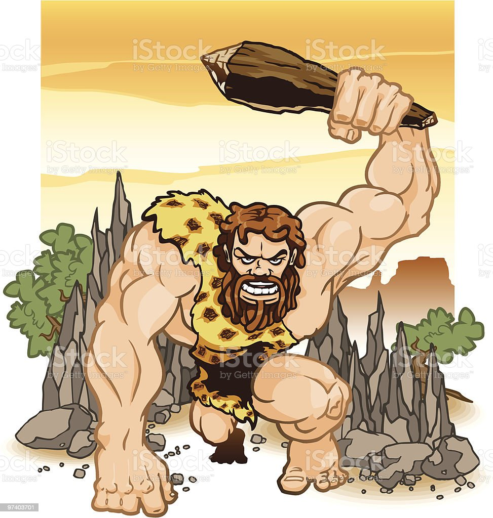Caveman Wielding Club royalty-free stock vector art