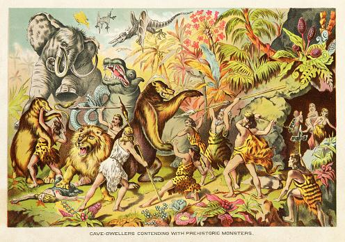 Cavemen contending with prehistoric monsters