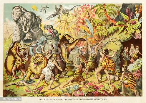 Cavemen contending with prehistoric monsters - Scanned 1890 Engraving