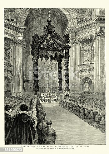 istock Celebration of Pope Leo XIII sacerdotal jubilee at Rome, Pope performing mass in St Peter's, St. Peter's Baldachin 1331599023