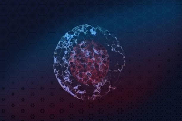 ilustraciones, imágenes clip art, dibujos animados e iconos de stock de división de célula y átomo. técnica mixta. - oncología
