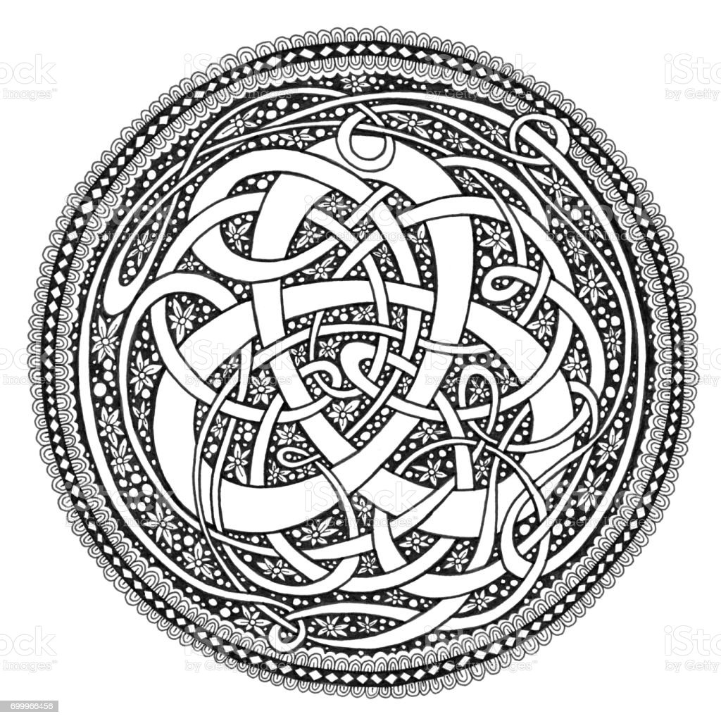 Celtic Knot Mandala Doodle Drawing vector art illustration