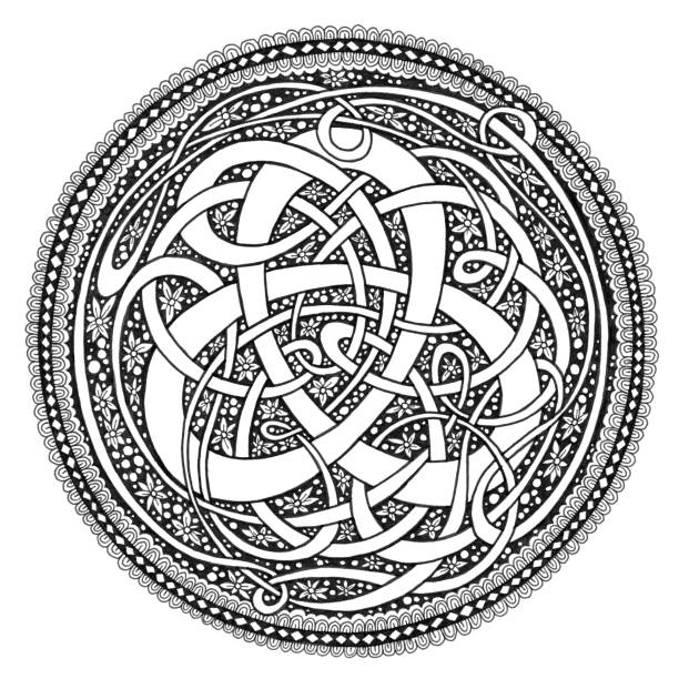 celtic knot mandala doodle drawing - celtic tattoos stock illustrations, clip art, cartoons, & icons