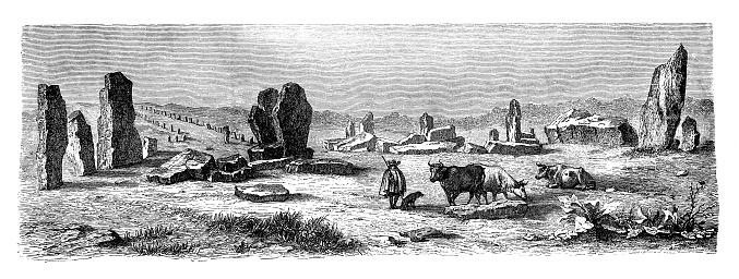 Celtic monuments ,Druid building remains at Carnac