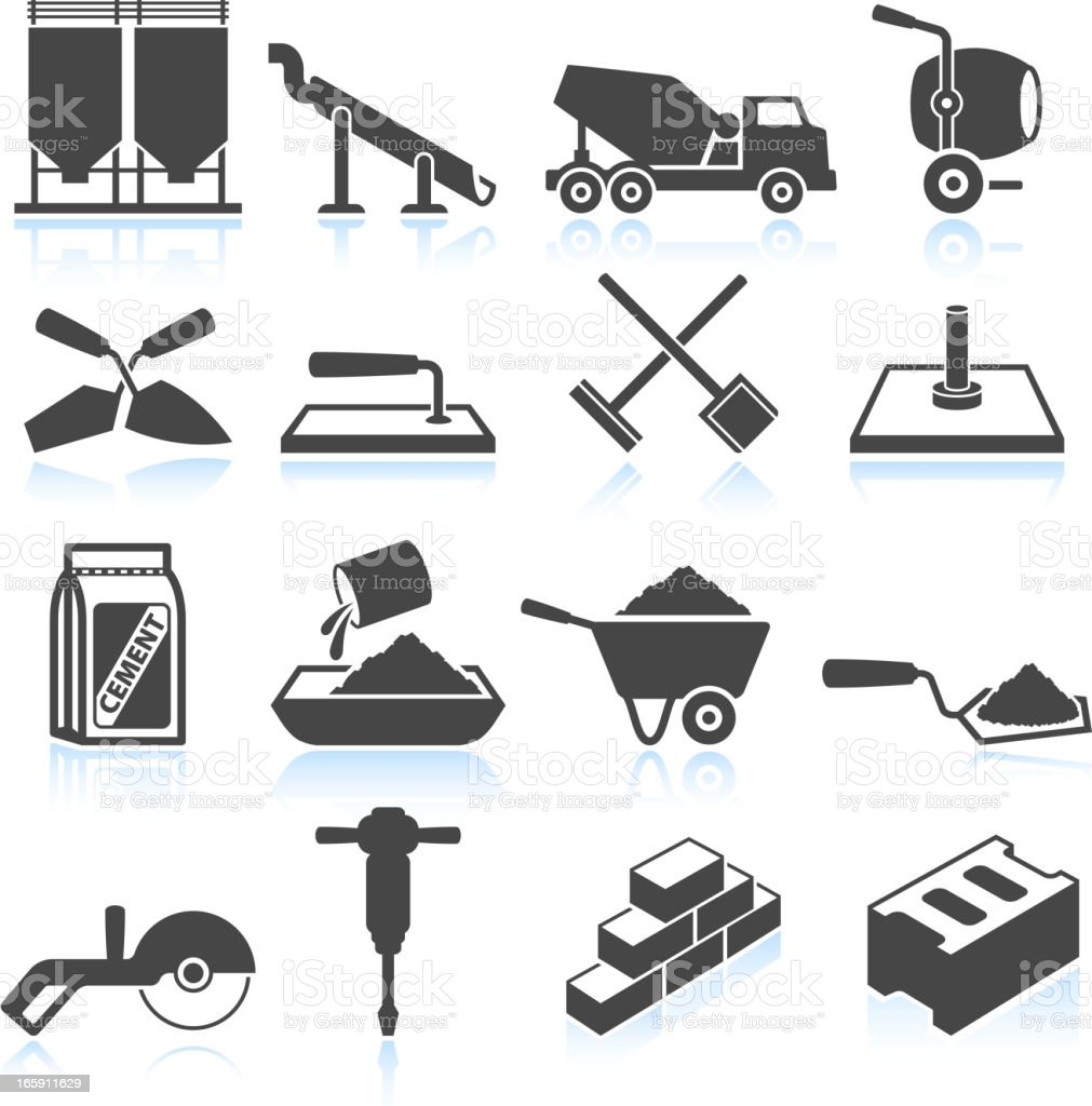 Cement Industry black & white royalty free vector icon set vector art illustration