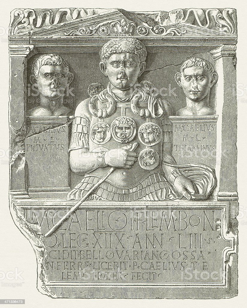 Cenotaph of Marcus Caelius (LVR-Landesmuseum, Bonn), wood engraving, published 1880 royalty-free stock vector art