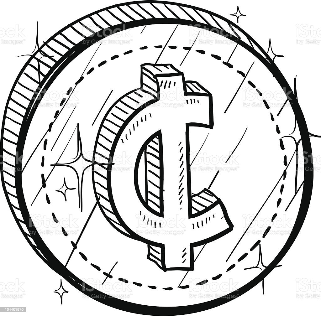 Cent Currency Symbol On Coin Sketch Stock Vector Art More Images