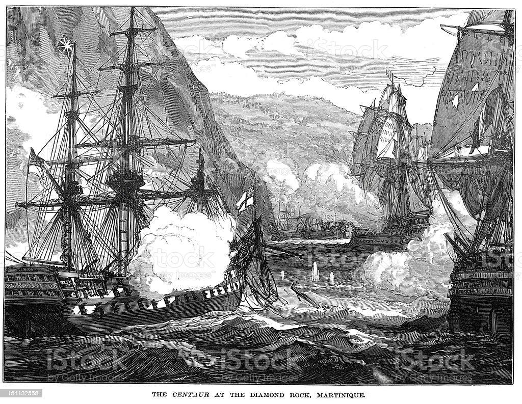 HMS Centaur at Diamond Rock Martinique royalty-free stock vector art