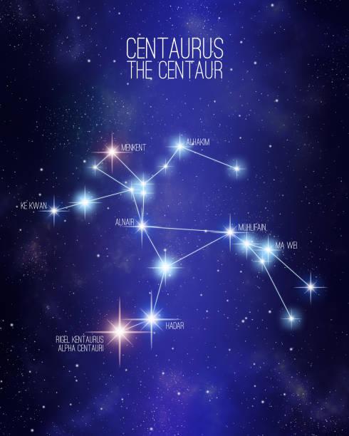 bildbanksillustrationer, clip art samt tecknat material och ikoner med centaurus den centaur konstellation på en stjärnhimmel illustration - centaurus