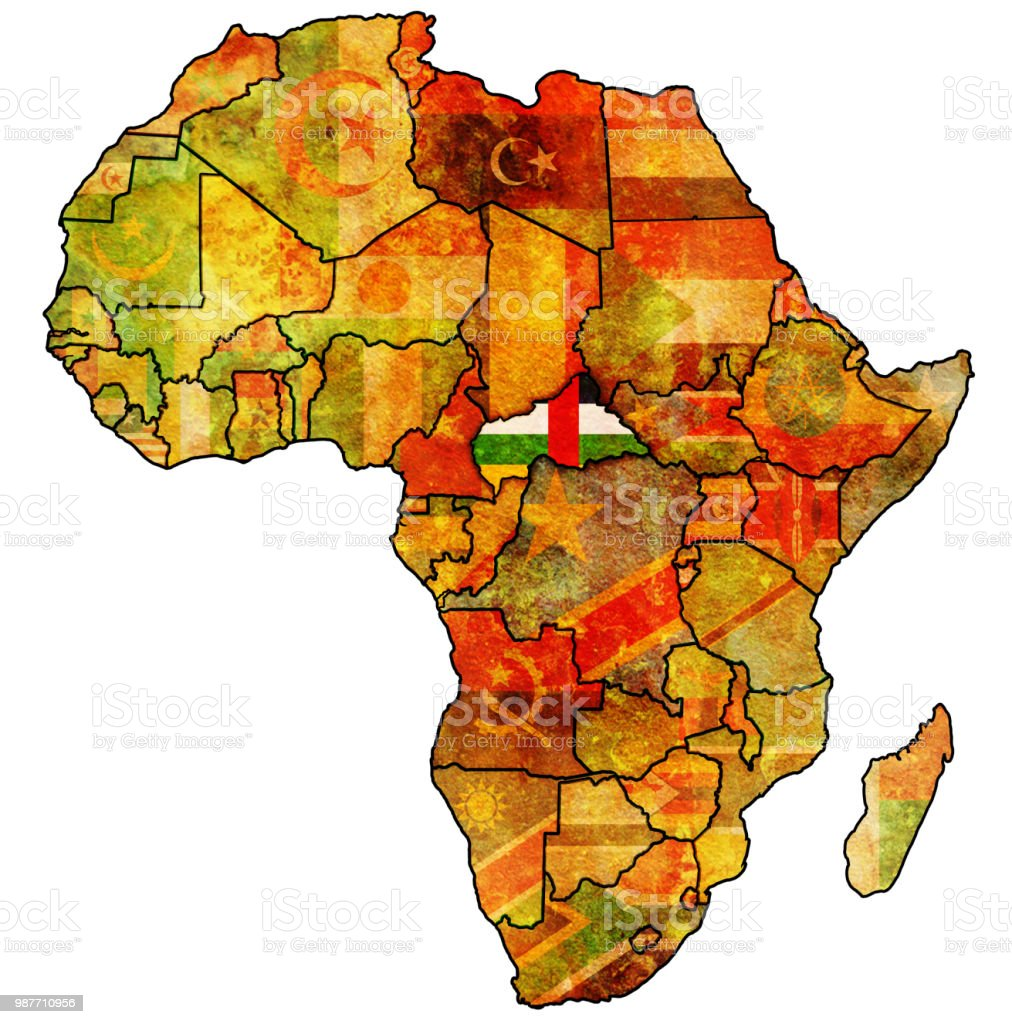 Flag Map Of Africa.Central African Republic Territory On Political Map Of Africa Stock