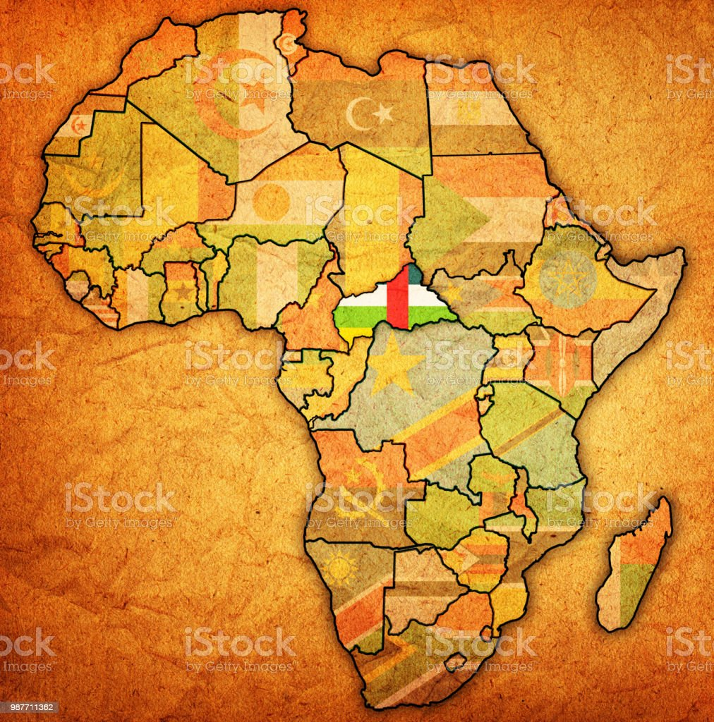 Central African Republic Territory On Political Map Of Africa Stock