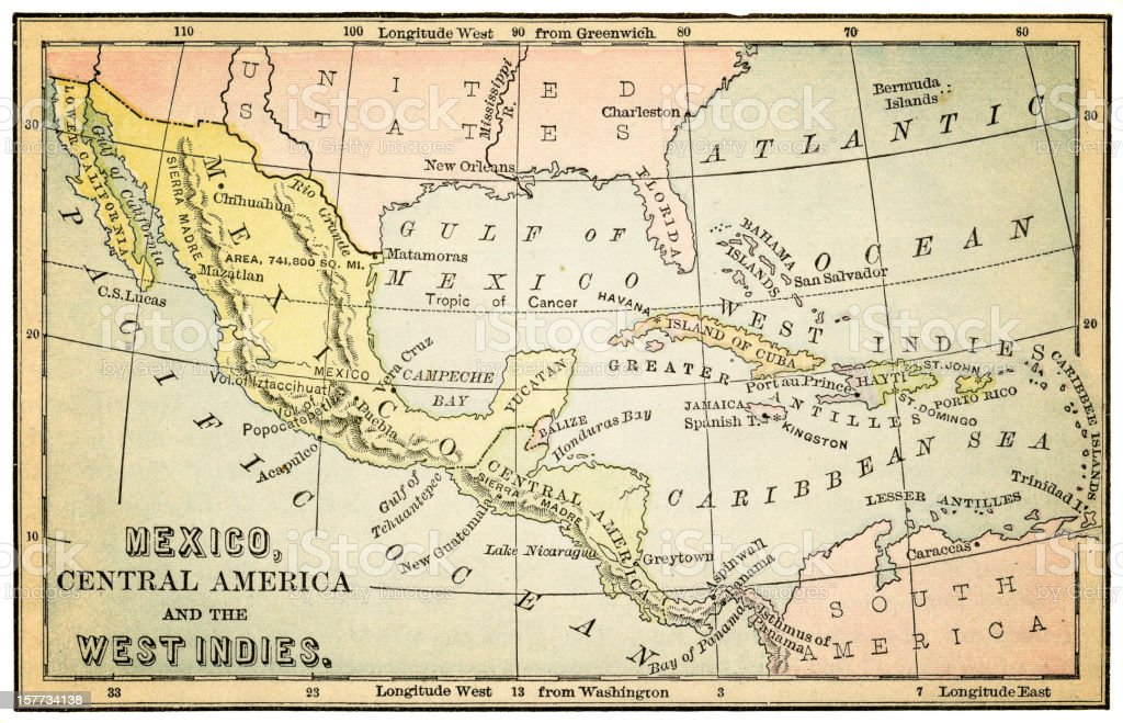 central america and mexico 1877 vector art illustration