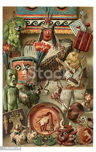 Central american tribal culture craft objects illustration 1896 ( Peru - Mexico and Colombia ) Original edition from my own archives Source :