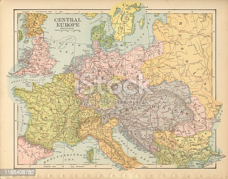 Very Rare, Beautifully Illustrated Antique Victorian Engraved Colored Map of Central Europe Antique Victorian Engraved Colored Map, 1899. Source: Original edition from my own archives. Copyright has expired on this artwork. Digitally restored.