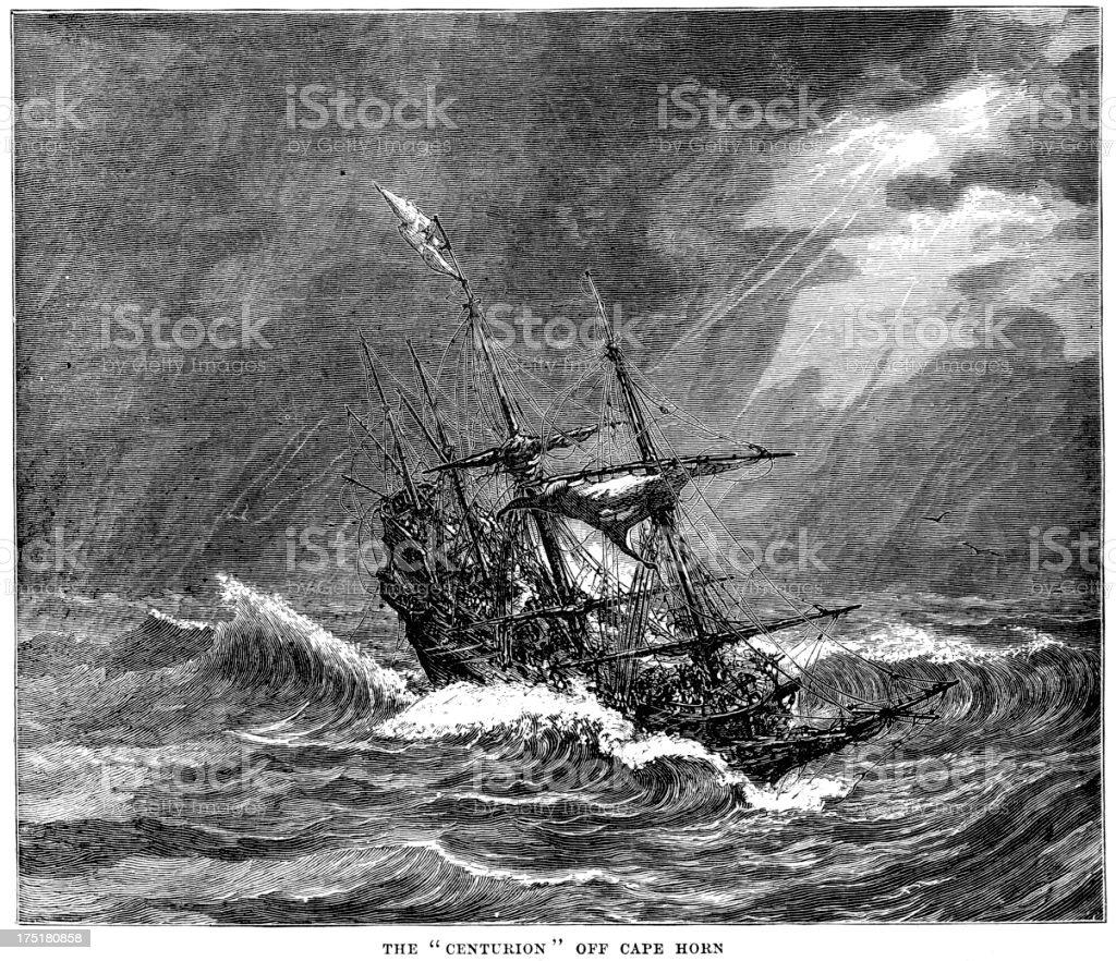HMS Centurion off Cape Horn royalty-free stock vector art