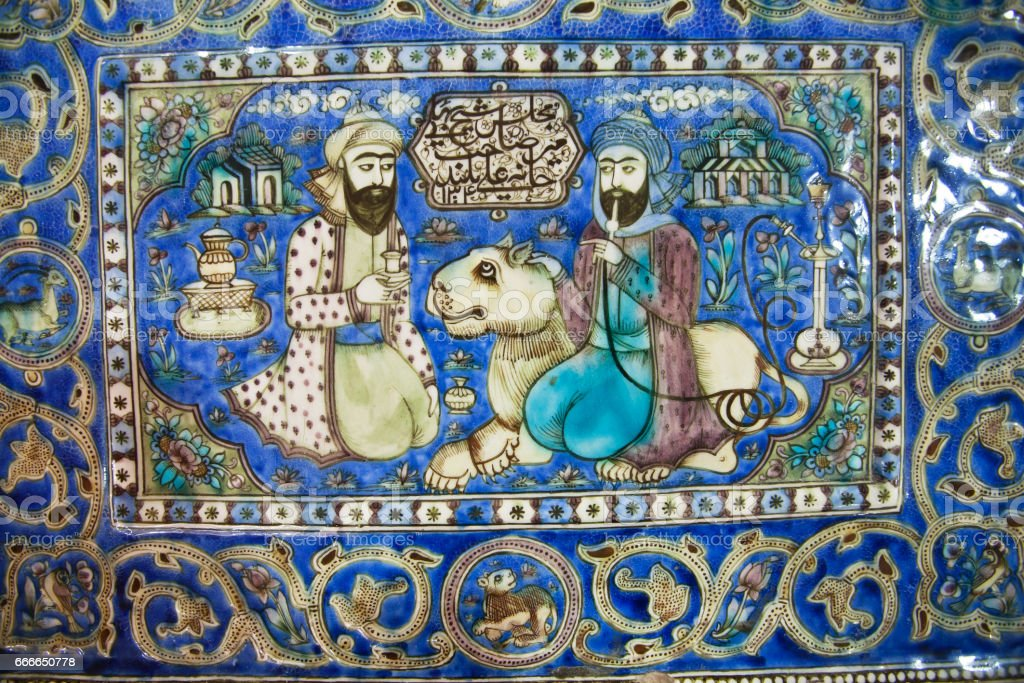 Ceramic tiles of 19th century with a lion and two persian men talking in garden vector art illustration