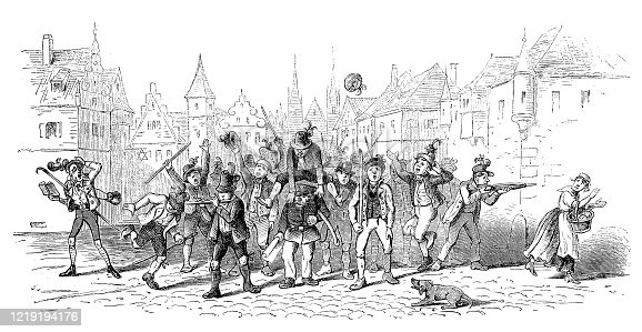 Illustrator of a Ceremonial group of people in city ,19th century