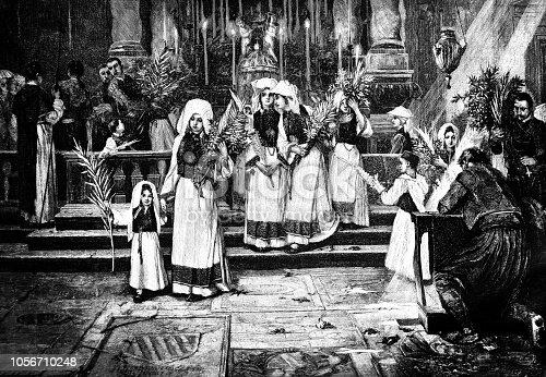 Ceremony of church mass on Pentecost