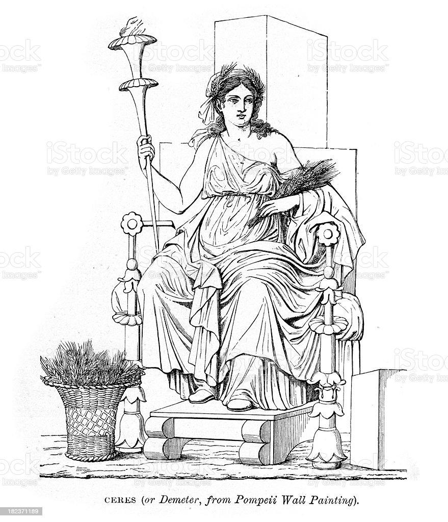 Ceres Roman Goddess of Motherly Love royalty-free stock vector art