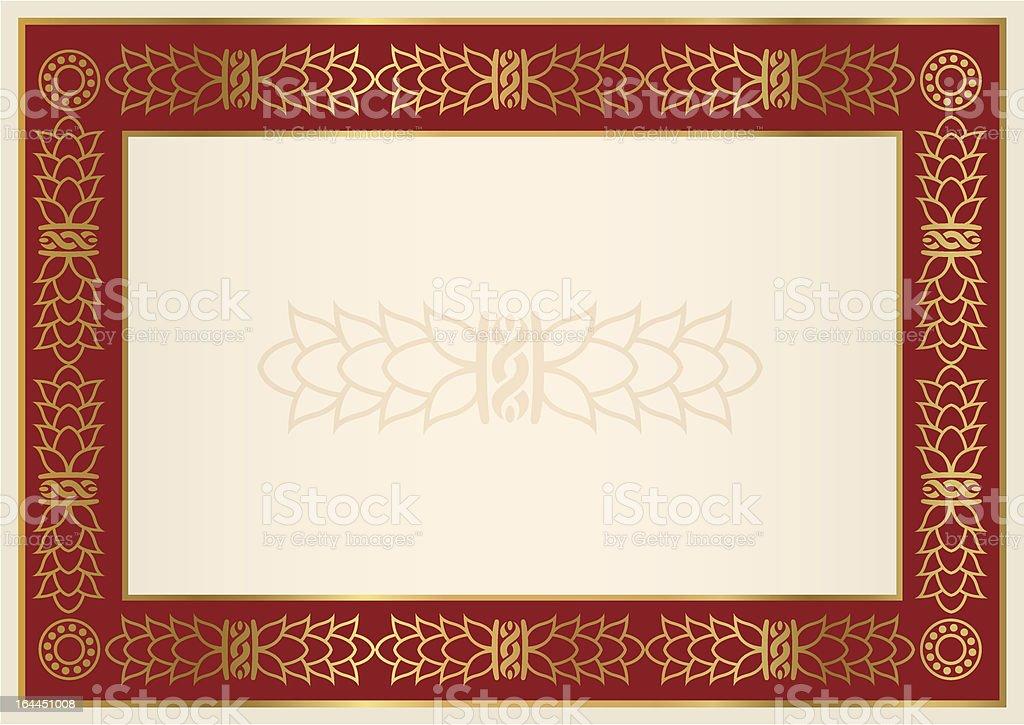 Zeugnisdiplom Hintergrund Roter Rahmen Gold Mit Blumenmuster Stock ...