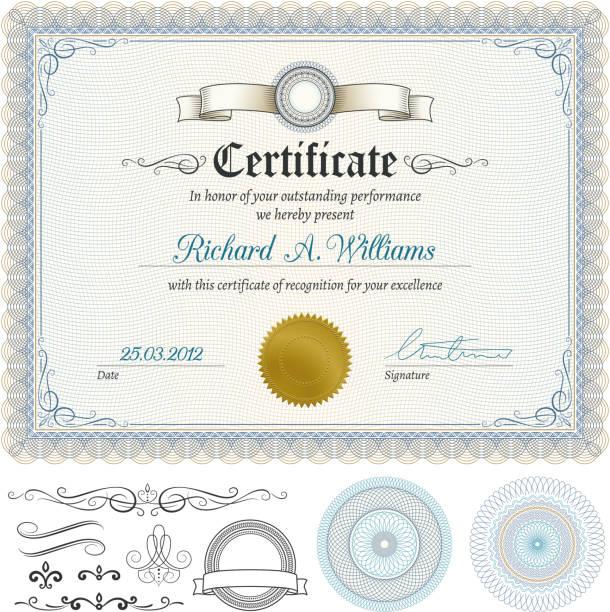 bildbanksillustrationer, clip art samt tecknat material och ikoner med certificate - diploma