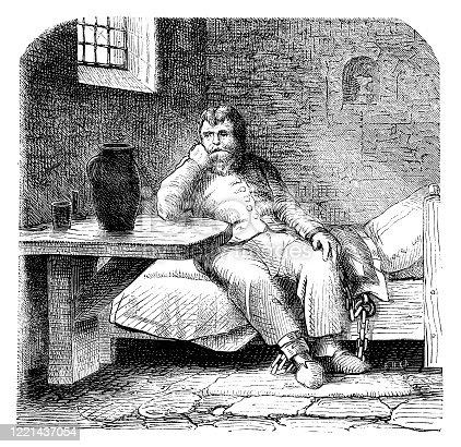 Illustration of a Chained prisoner