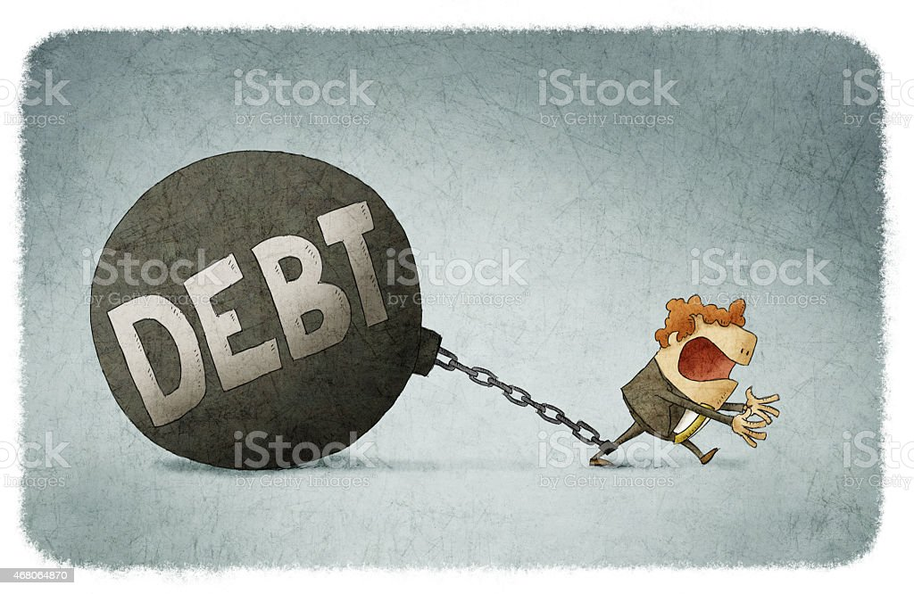 chained to his debts vector art illustration