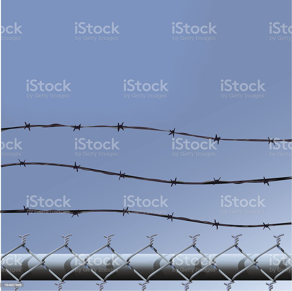 ChainLink Barbed Wire royalty-free stock vector art