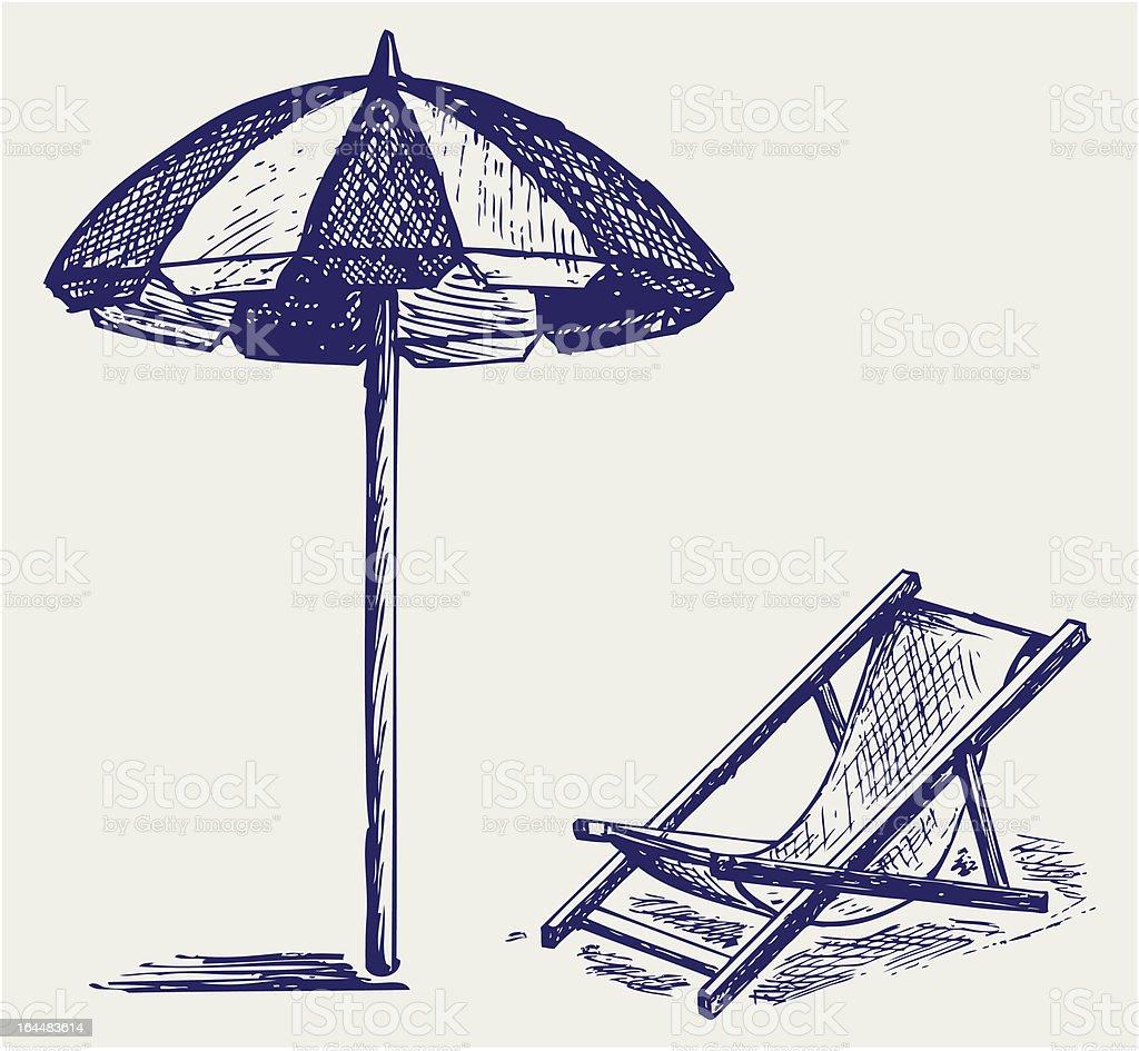 Chair and beach umbrella vector art illustration