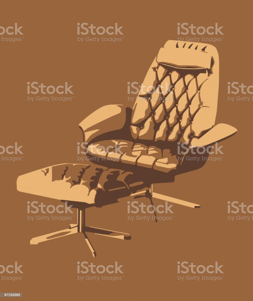 Chair and Footstool vector art illustration