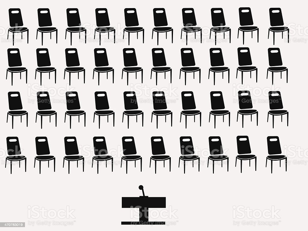 chairs and speakers table vector art illustration